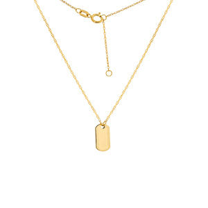 14K Solid Gold Mini Dog Tag Dainty Rope Necklace
